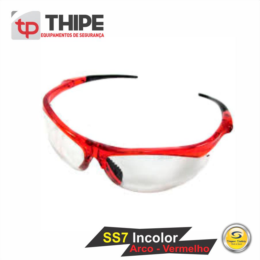 Óculos De Proteção SS7 Incolor – Arco Vermelho – THIPE 548b8509e8